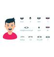 cartoon male mouth lip sync set speech vector image vector image