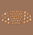 christmas and new year gingerbread alphabet vector image vector image