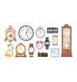 collection of mechanical and electronic clocks vector image vector image