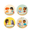 collection of smiling children reading books and vector image vector image