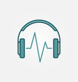 colored headphone with music wave icon vector image vector image