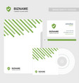 company business card with brochure and green vector image
