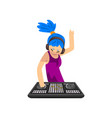 dj girl with blue hair in headphones mixing music vector image