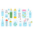 doodle drink more water cute funny hand drawn vector image vector image