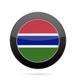 flag of gambia shiny black round button vector image vector image