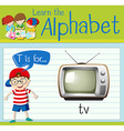 Flashcard letter T is for TV vector image vector image