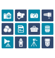 Flat Photography equipment and tools icons vector image