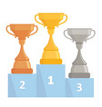gold silver and bronze trophy cups tree winner vector image vector image