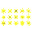 hand drawn sun cute bright suns with funny vector image vector image