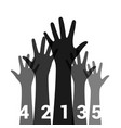 hands up with numbers vector image