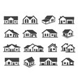 houses exterior black glyph icons set vector image