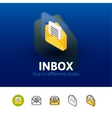 Inbox icon in different style vector image vector image