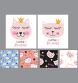 little cute cat princess background and seamless vector image vector image