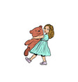 little girl and toy bear vector image