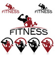 man and woman of fitness silhouette character and vector image