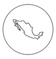 map of mexico icon black color in round circle vector image vector image