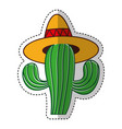 Mexican cactus with hat isolated icon