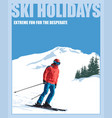 minimalist winter poster skier mountains snow vector image