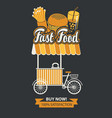 mobile tray selling fast food in retro style vector image