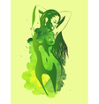 Nude women on the green watercolor background vector image vector image