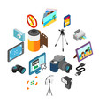 photography icons set isometric 3d style vector image vector image