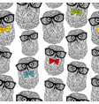 seamless pattern of owls in hipster style isolated vector image vector image