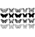 set butterflies silhouette sketch vector image