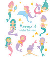 set of beautiful mermaids little girls with vector image
