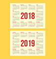 set of calendar grid for years 2018-2019 for vector image