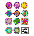 set of variegated design shapes in pop art style vector image vector image