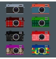 set retro cameras hipster style vector image