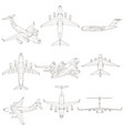 set with contours of the aircraft the contours of vector image vector image