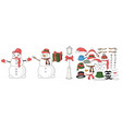 snowman constructor for designing postcard in vector image vector image