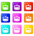 soccer match on tv icons 9 set vector image vector image