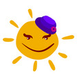 sun with woman hat on white background vector image vector image