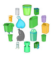 trashcan icons set cartoon style vector image