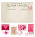 Vintage Christmas Postcard and Stamps vector image vector image