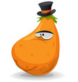 pumpkin character with hat vector image