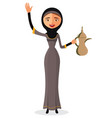 arab woman holding an coffee pot and waving vector image vector image