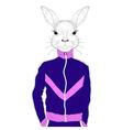brutal rabbit boy in blue sport suit 90s Hand vector image