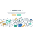 Business hero line flat design banner with vector image