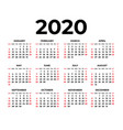 calendar for 2020 on white background vector image