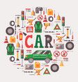 car equipment and maintenance icons in round frame vector image