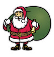 cartoon of santa claus bring the bunch of prizes vector image vector image