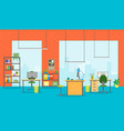 cartoon office room interior vector image vector image