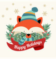 christmas card with tree braches and little fox vector image vector image