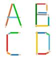 colored pencil alphabet vector image vector image