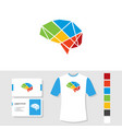 colorful brain logo design with business card and vector image vector image