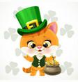 cute cartoon baby kitten in a leprechaun costume vector image vector image