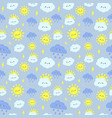 cute rain sky pattern smiling happy sun vector image